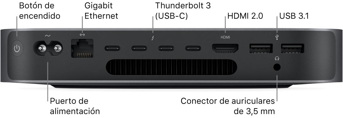 Lateral del Macmini con el botón de alimentación, el puerto de alimentación, el puerto Ethernet Gigabit, cuatro puertos Thunderbolt3 (USB-C), el puerto HDMI, dos puertos USB3 y el conector para auriculares de 3,5mm.