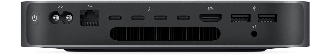 Stražnji prikaz Mac mini računala i njegovih raznih portova.