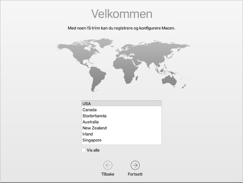 En Mac-skjerm med Oppsettassistent åpen på Velkommen-skjermen.