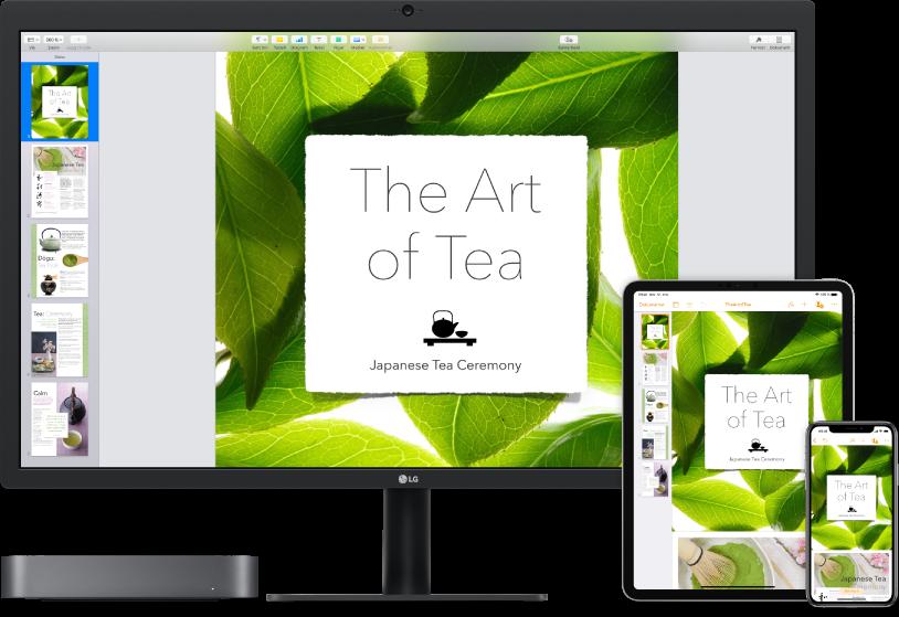 Mac mini ved siden av ulike enheter som viser det samme iCloud-innholdet.