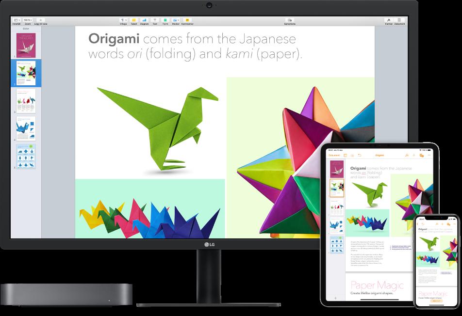 Identiskt innehåll visas på en Mac mini, en iPad och en iPhone.