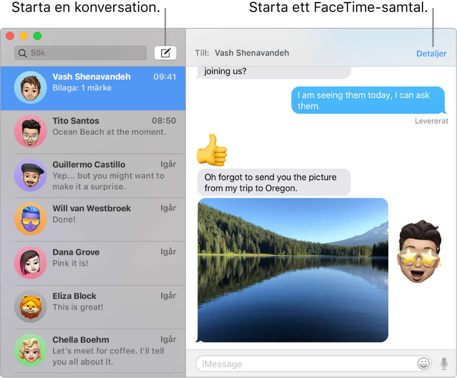 Ett Meddelanden-fönster som visar hur du startar en konversation och ringer ett FaceTime-samtal.