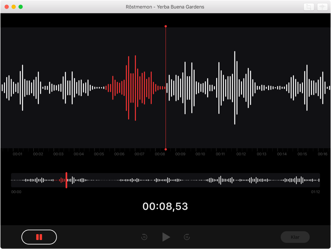 Ett Röstmemon-fönster som visar en pågående inspelning.