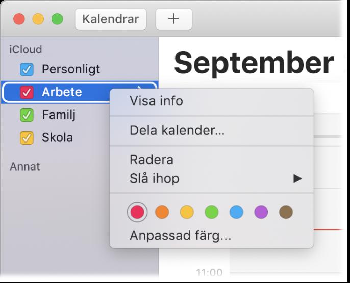 Kontextmeny för Kalender med alternativ för att anpassa en kalenders färg.