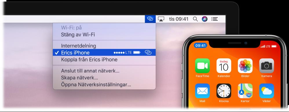 En Mac-skärm med Wi-Fi-menyn som visar en anslutning via Internetdelning på iPhone.