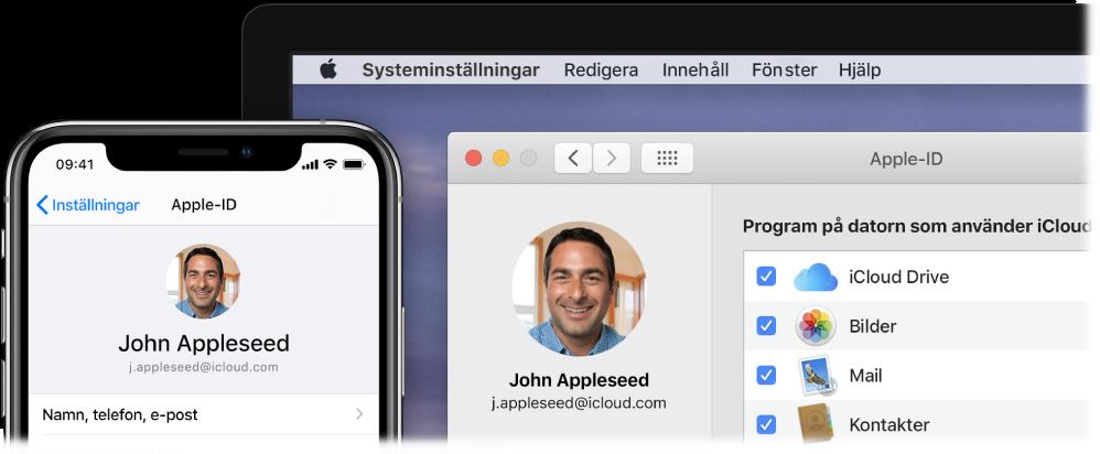 En iPhone som visar iCloud-inställningar och en Mac-skärm som visar iCloud-fönstret.