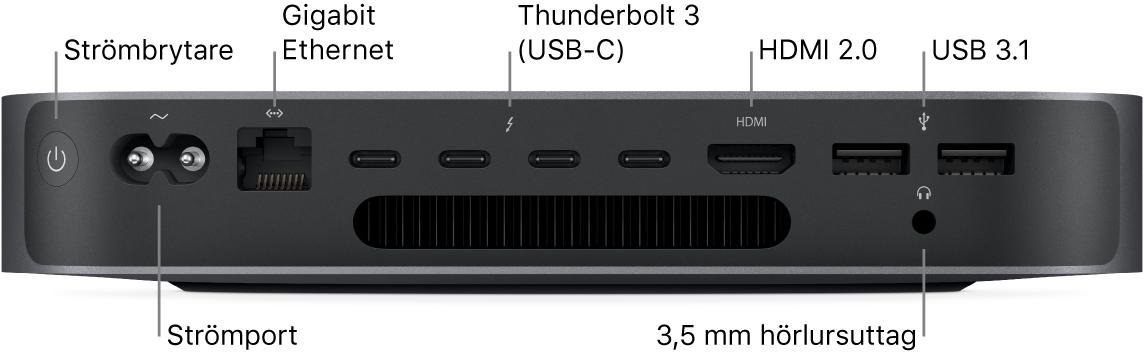 En sida på Mac mini som visar strömbrytare, strömport, Gigabit Ethernet-port, fyra Thunderbolt3 (USB-C)-portar, HDMI-port, två USB3-portar och ett 3,5 mm hörlursuttag.