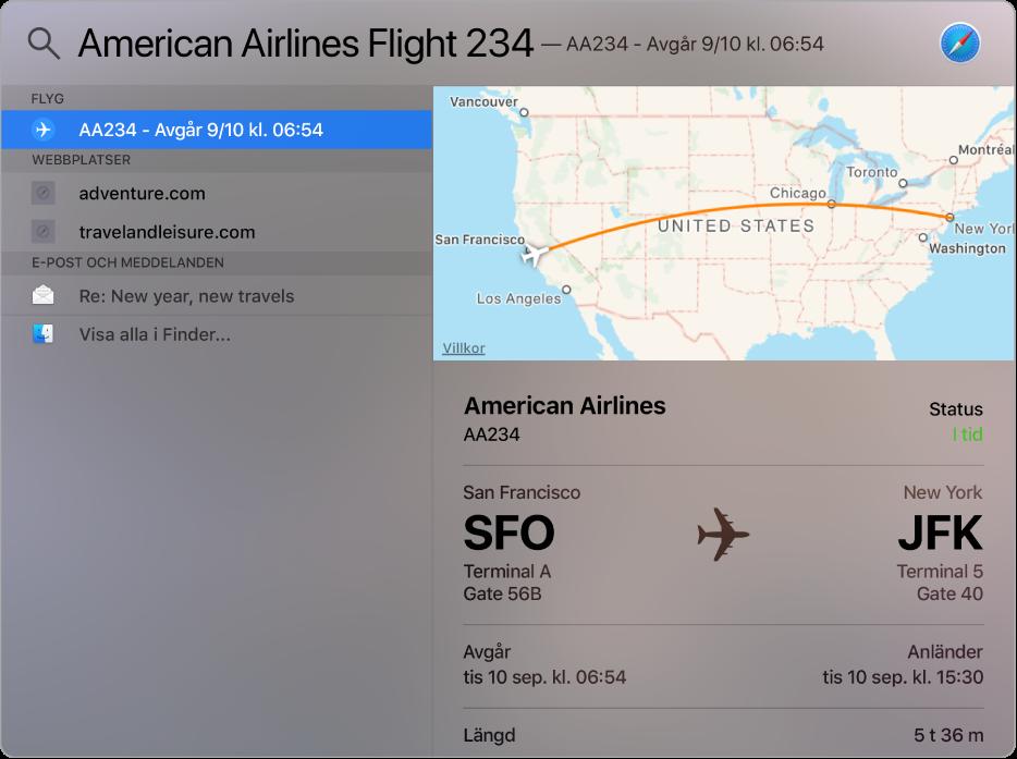 Spotlight-fönstret som visar en karta och flyginformation för flyget som du sökte efter.