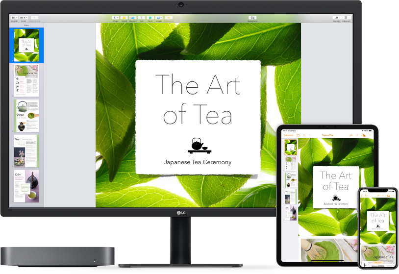Mac mini bredvid olika enheter som ansluter till samma iCloud-innehåll.