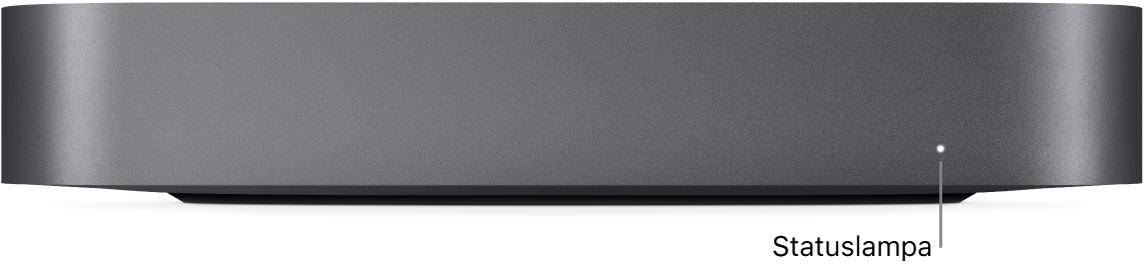 Framsidan på Mac mini med statuslampan.