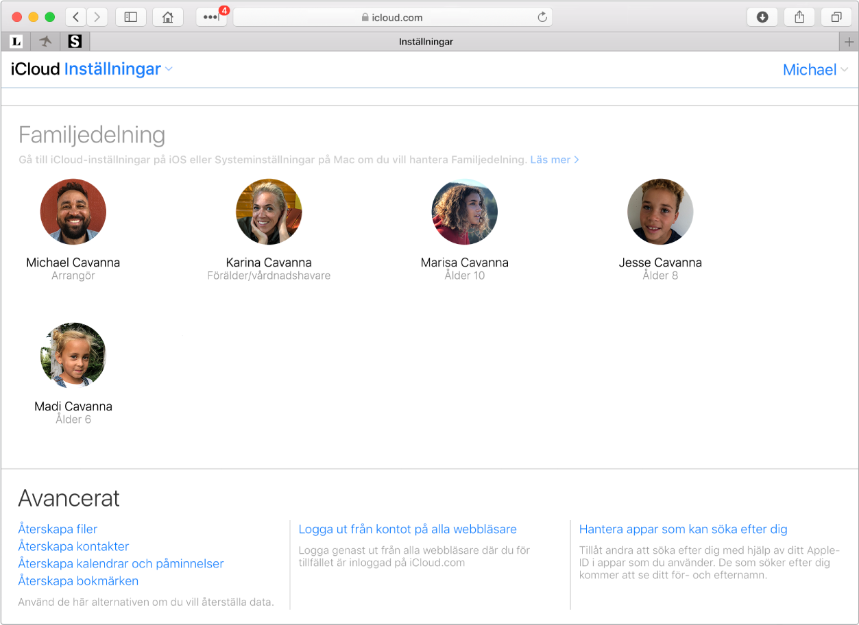 Ett Safari-fönster som visar inställningarna för Familjedelning på iCloud.com.