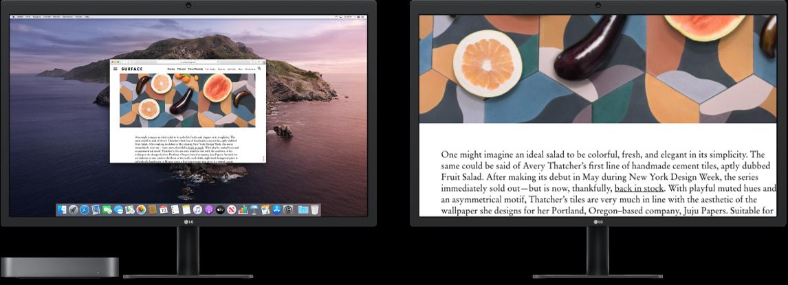 Zoomskärm är aktiverad på den andra skärmen medan skärmstorleken förblir intakt på den vänstra skärmen.