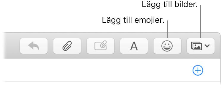 Ett skrivfönster med knappar för emojier och bilder.