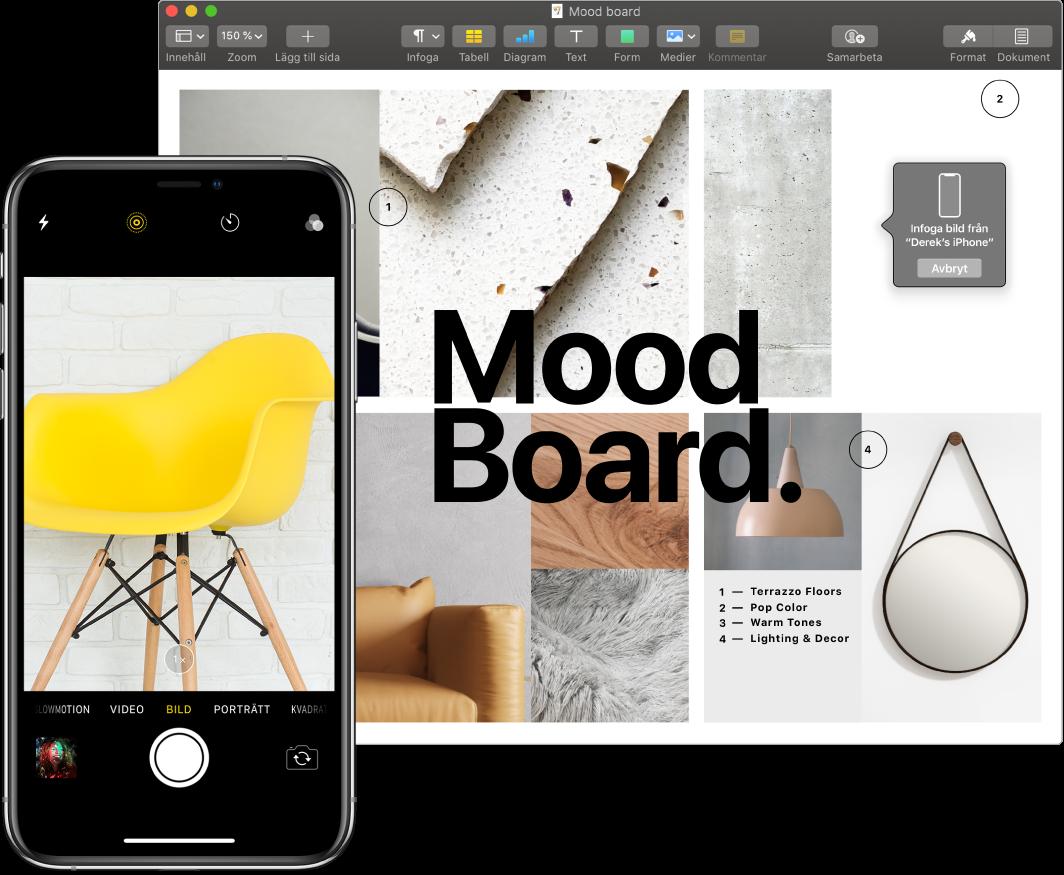 En iPhone som visar en bild och en Mac-skärm som visar ett Pages-dokument med en dialogruta där bilden ska vara.