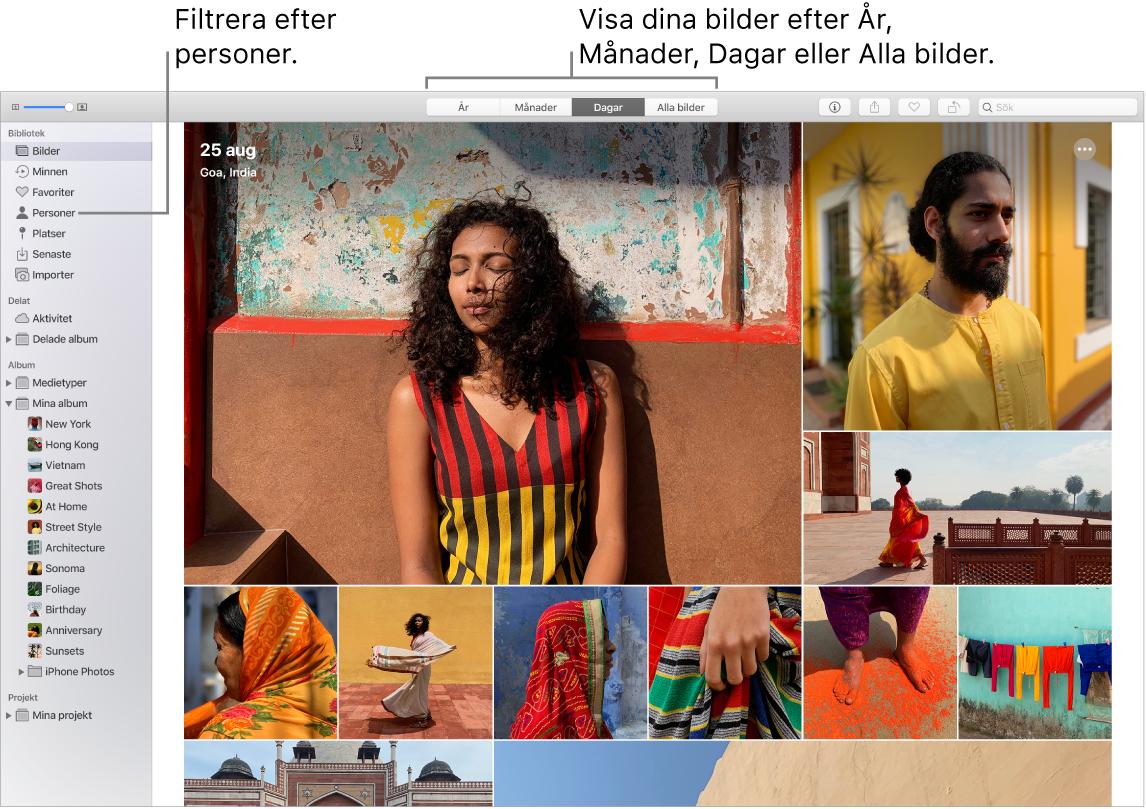Ett Bilder-fönster som visar hur du filtrerar bilderna i ditt bibliotek på olika sätt.