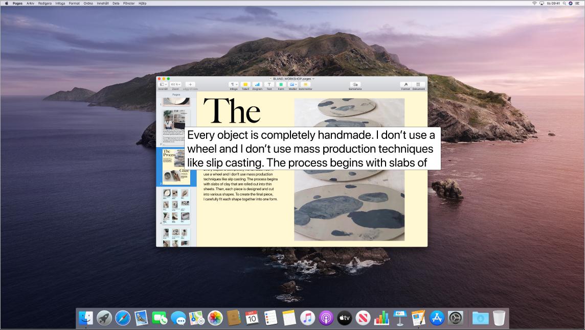 Funktionen Text under pekaren är aktiv och visar förstorad text i ett nytt fönster.