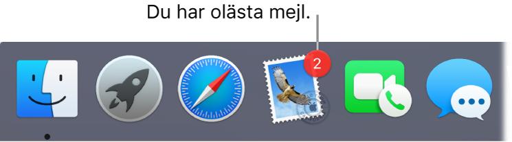 Ett område av Dock som visar programsymbolen för Mail med en bricka som anger antalet olästa mejl.
