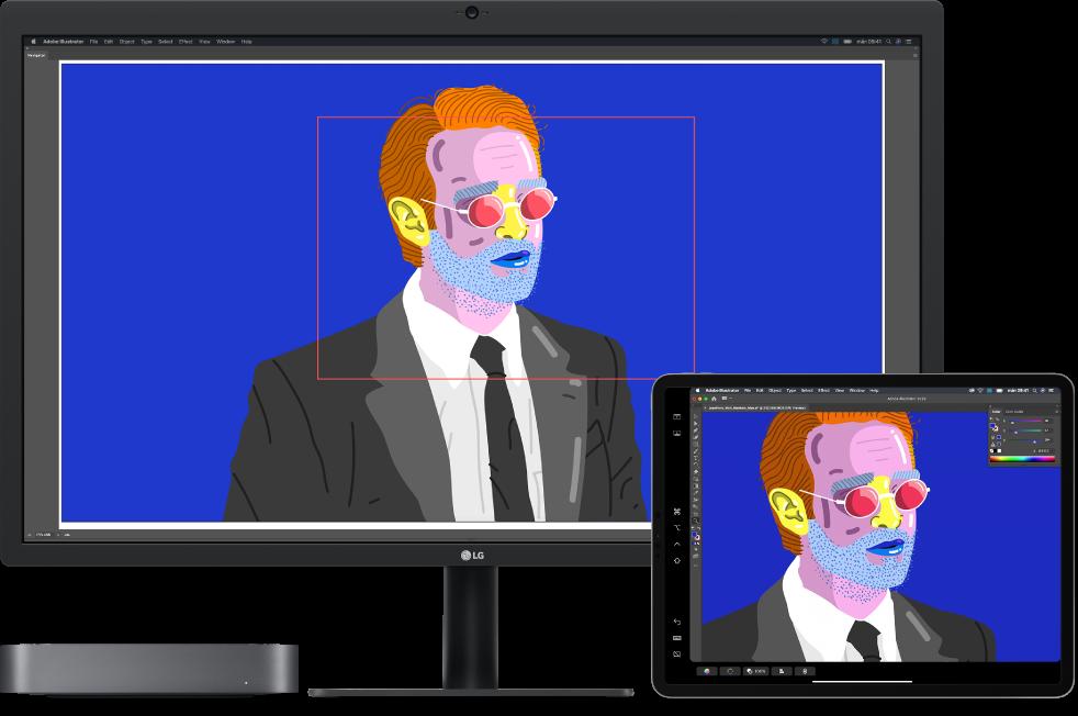 En Macmini och en iPad sida vid sida. Macmini visar konst i navigatorfönstret i Illustrator. iPad visar samma konst i dokumentfönstret med verktygsfält runtom i Illustrator.
