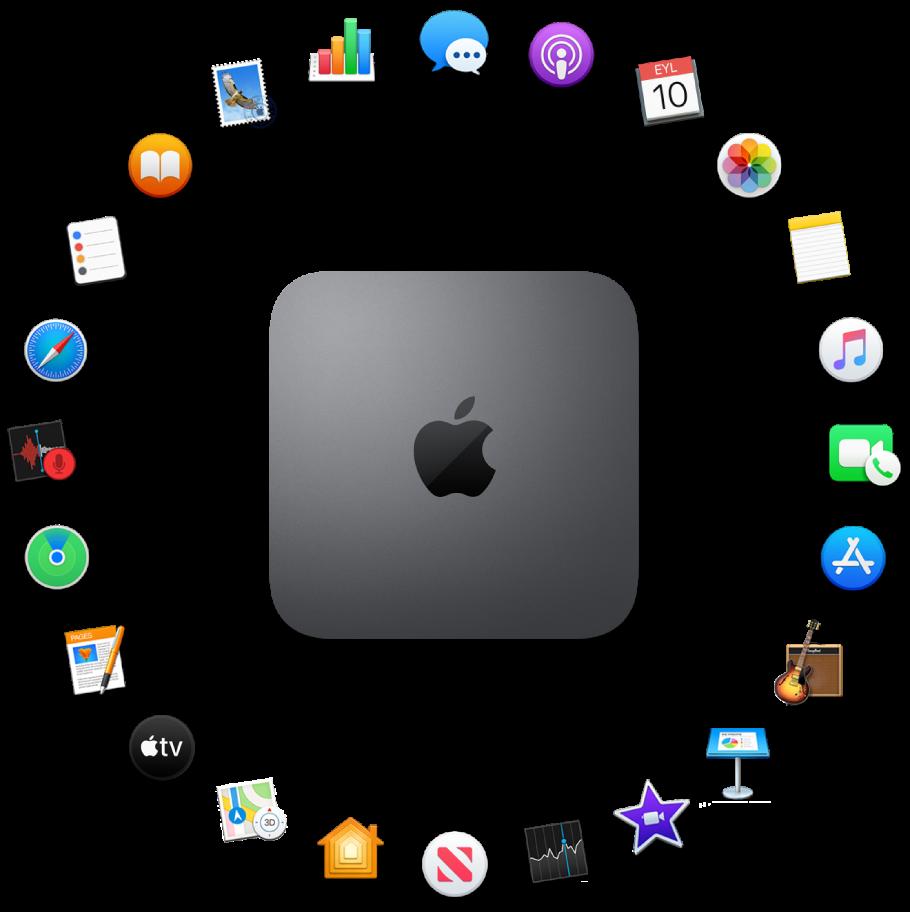 Aşağıdaki bölümlerde açıklanan yerleşik uygulamaların simgeleriyle çevrili bir Mac mini.