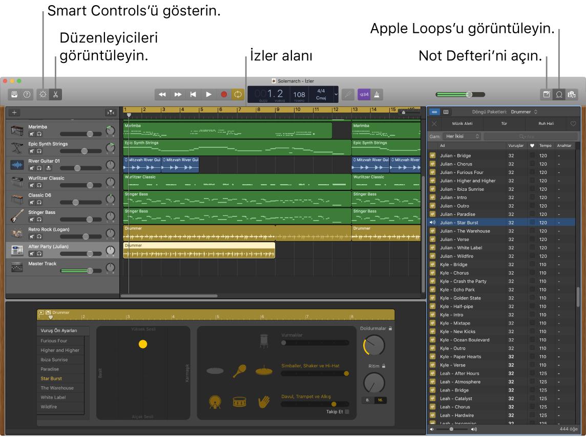 Smart Controls'e, Düzenleyiciler'e, Notlar'a ve Apple Loops'a erişim düğmelerini gösteren bir GarageBand penceresi. Ayrıca, izler görüntüsünü gösterir.