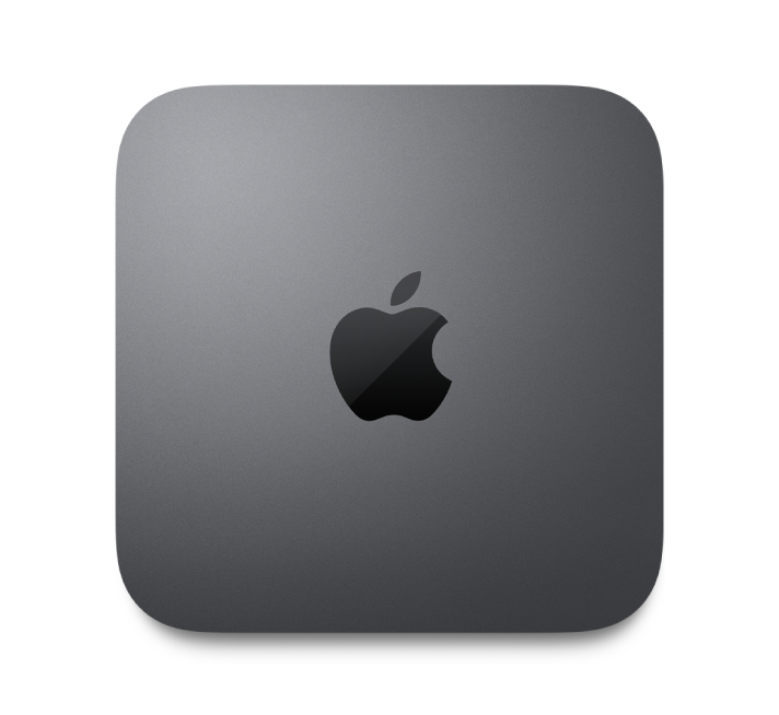 Mac mini'nin üstten görüntüsü.