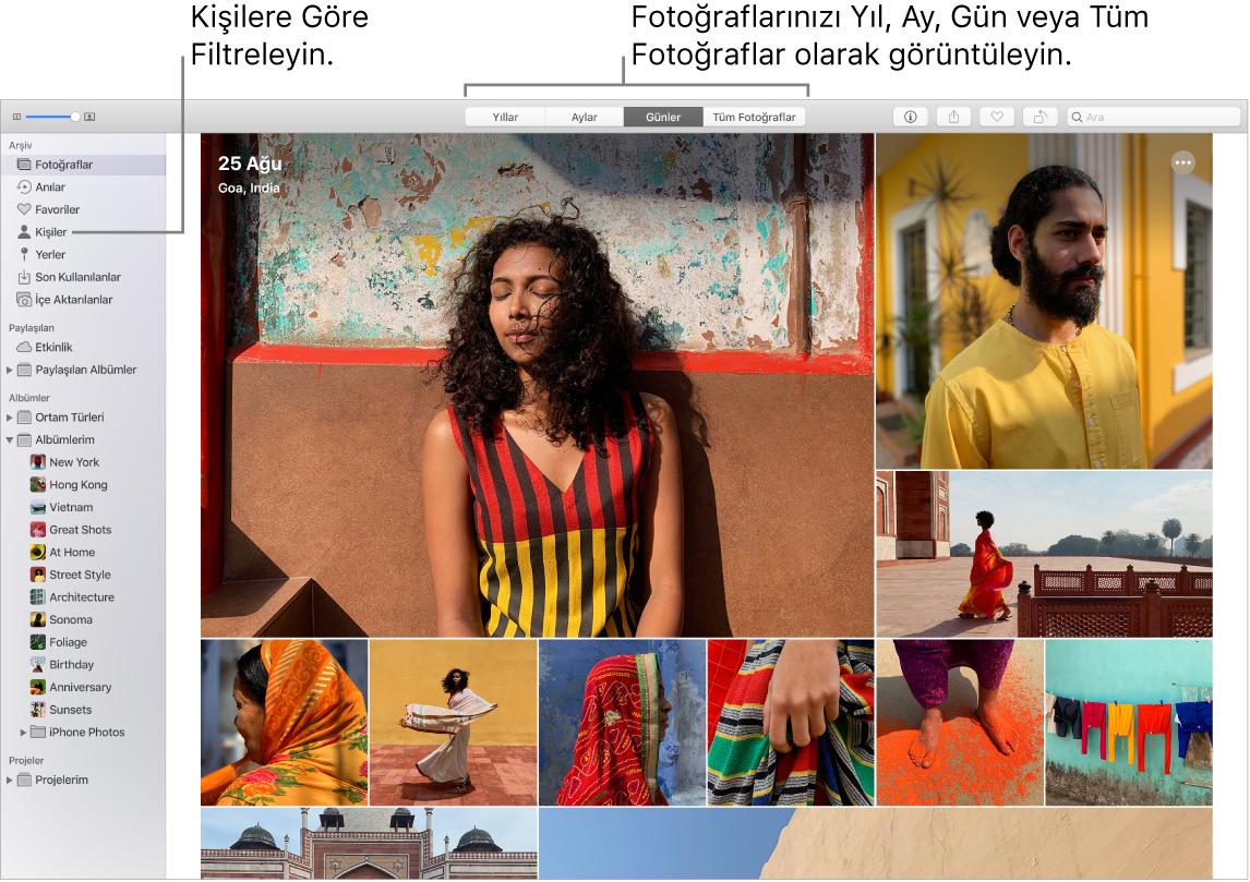 Albümünüzdeki fotoğrafları çeşitli şekillerde filtrelemeyi gösteren bir Fotoğraflar penceresi.