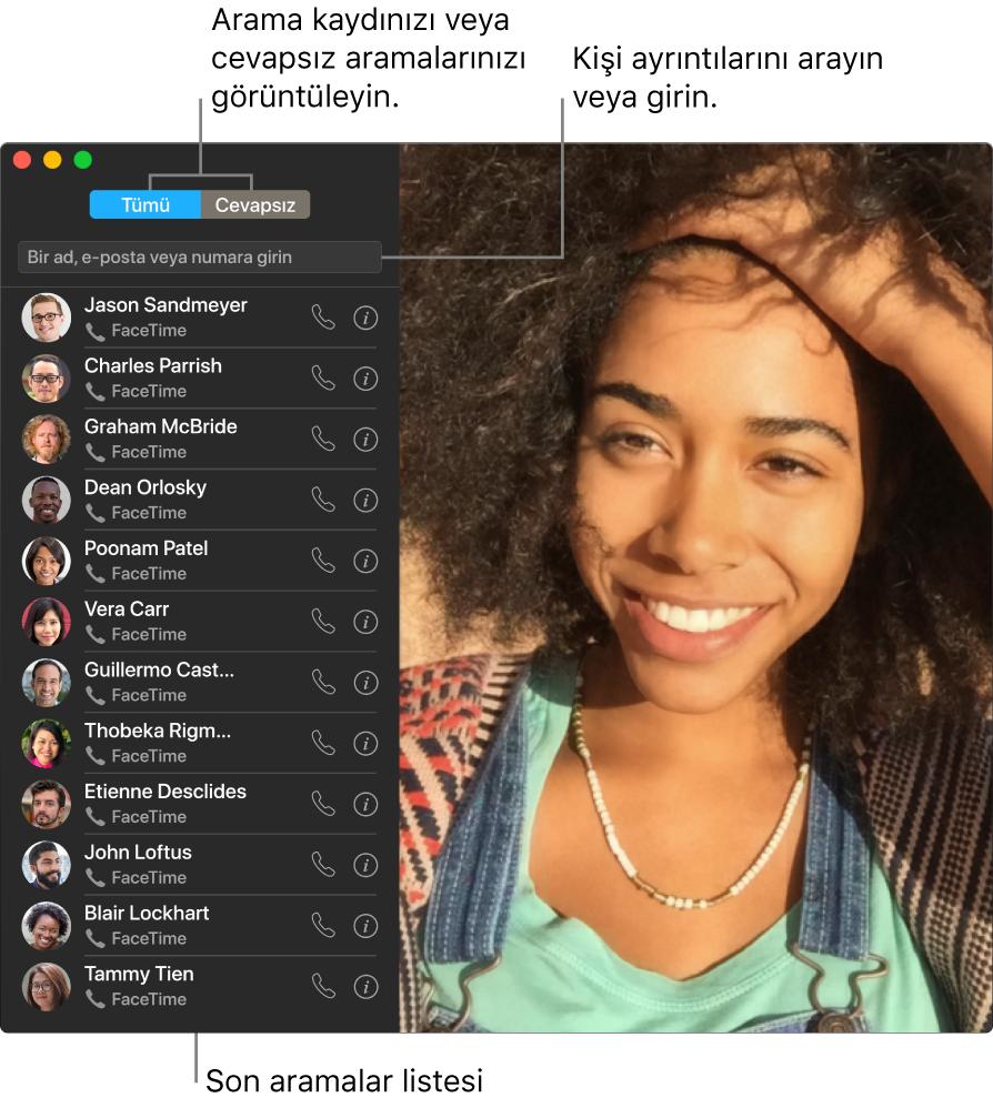 Görüntülü veya sesli aramanın nasıl yapılacağını, kişi ayrıntılarını girmek veya aramak için arama alanının nasıl kullanılacağını ve son aramalar listesinin nasıl görüntüleneceğini gösteren bir FaceTime penceresi.