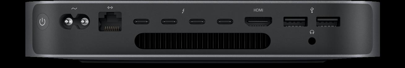 Mac mini'nin arkadan görüntüsü ve çeşitli bağlantı noktaları.