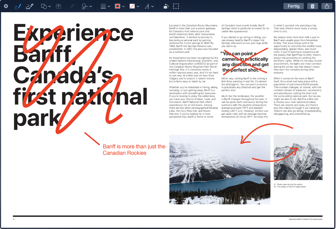 Ein markiertes Bildschirmfoto mit roten Änderungen und Korrekturen