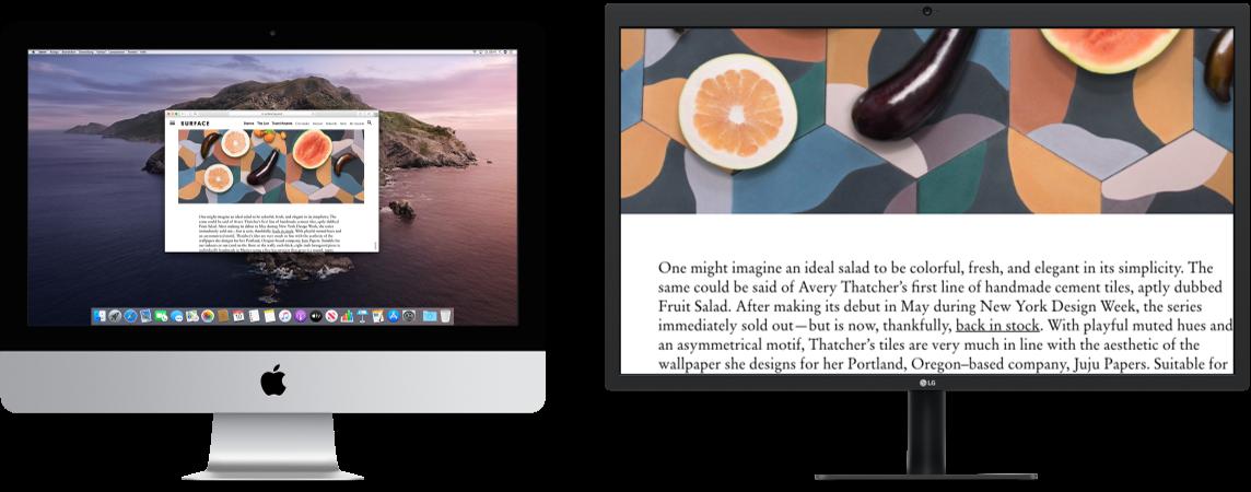 """Die Funktion """"Zoomen (Display)"""" ist auf dem zweiten Bildschirm aktiv, während die Bildschirmgröße auf dem iMac unverändert bleibt."""