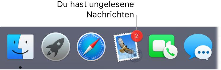 """Abschnitt im Dock mit dem Symbol der App """"Mail"""", die mit einem Kennzeichen versehen ist, das die Anzahl der ungelesenen Mails angibt"""