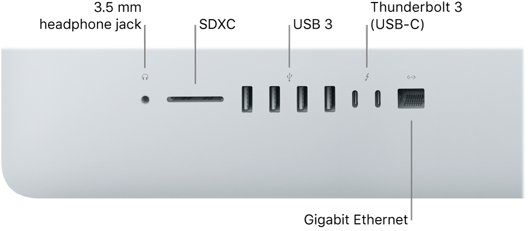 An iMac showing the 3.5 mm headphone jack, SDXC slot, USB 3 ports, Thunderbolt 3 (USB-C) ports, and Gigabit Ethernet port.