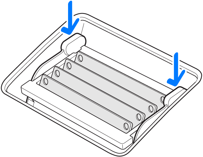 An illustration showing how to push the memory cage levers down into the memory compartment.