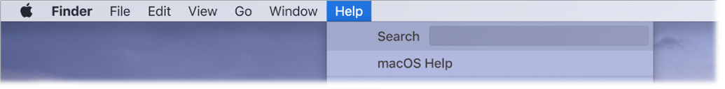 A partial desktop with the Help menu open, showing menu options for Search and macOS Help.