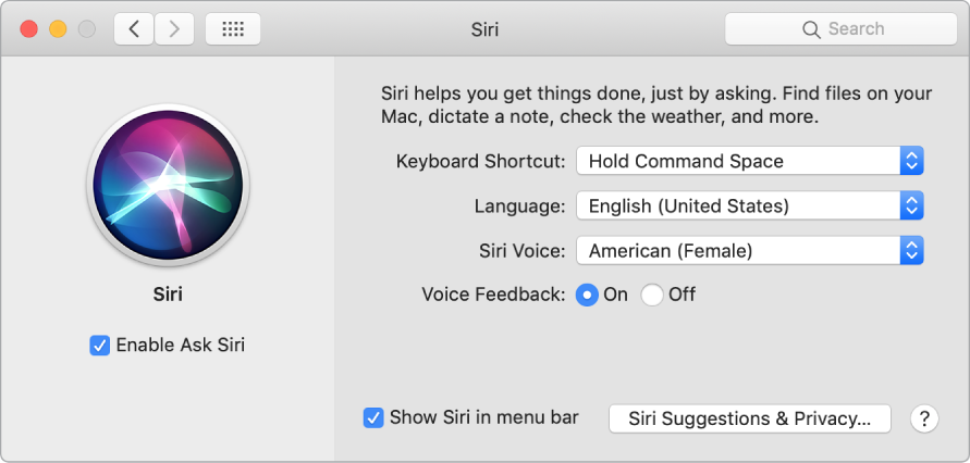 The Siri preferences window with Enable Ask Siri selected on the left and several options for customizing Siri on the right.