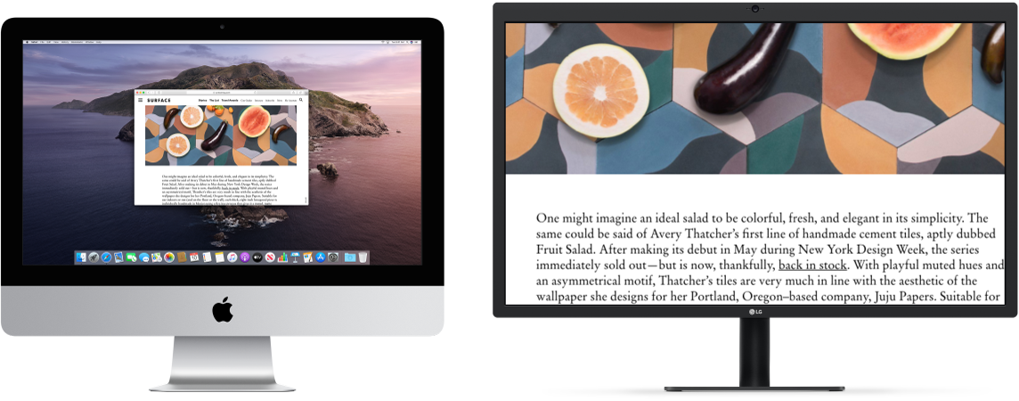 Zoom Display is active on the secondary display, while the screen size stays fixed on iMac.