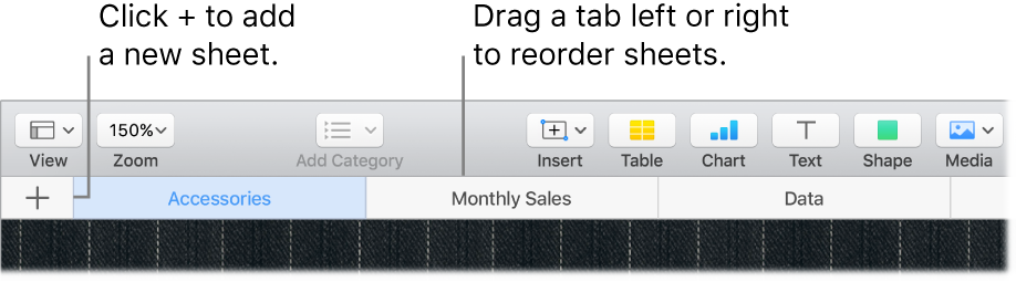 A Numbers window showing how to add a new sheet and how to reorder sheets.