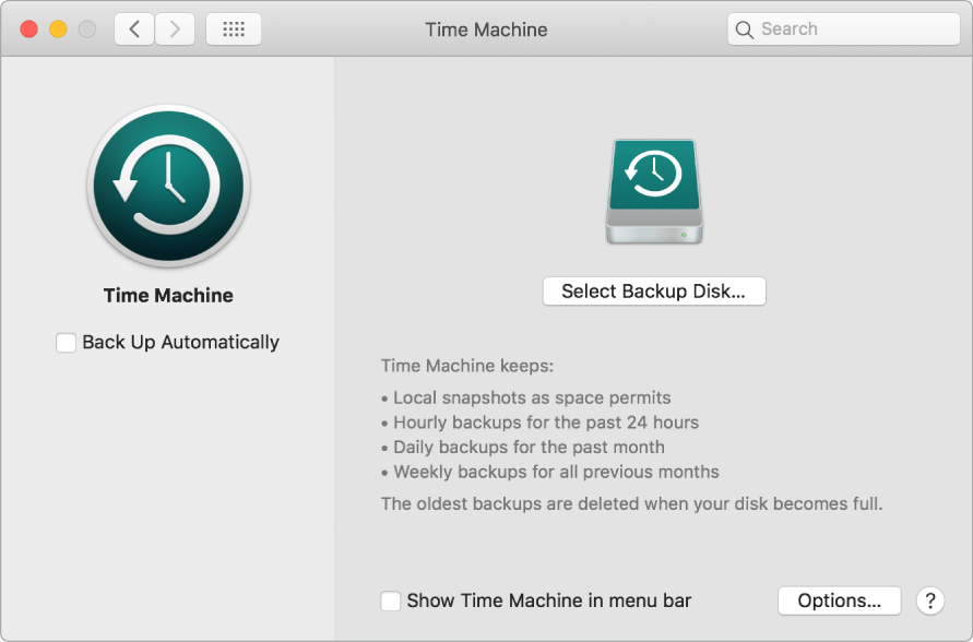 The Time Machine backup window.
