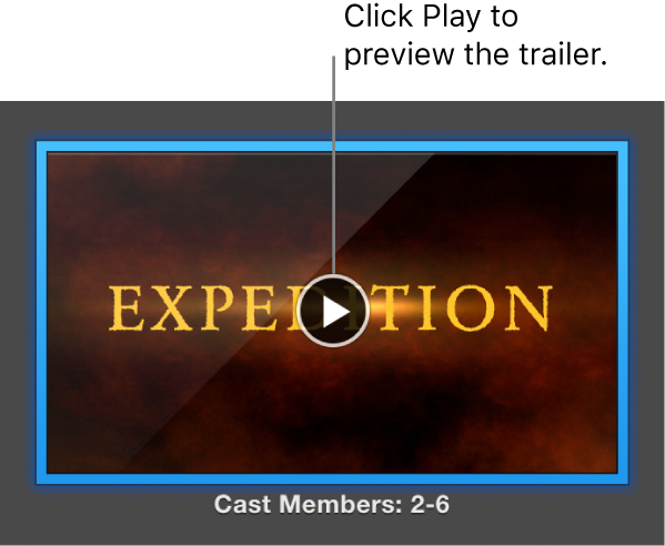 The iMovie trailer screen showing the Play button.