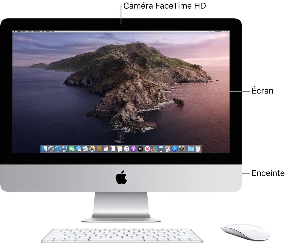 Vue frontale de l'iMac avec l'écran, la caméra et les haut-parleurs.