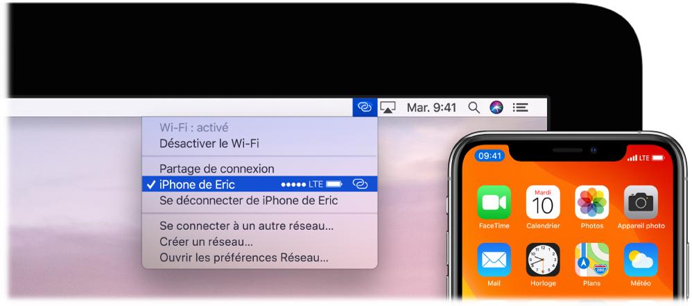 Écran du Mac avec le menu Wi-Fi affichant un Partage de connexion connecté à un iPhone.