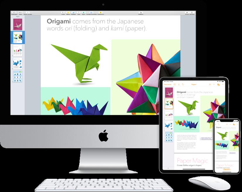 Contenu identique affiché sur un iMac, un iPad et un iPhone.