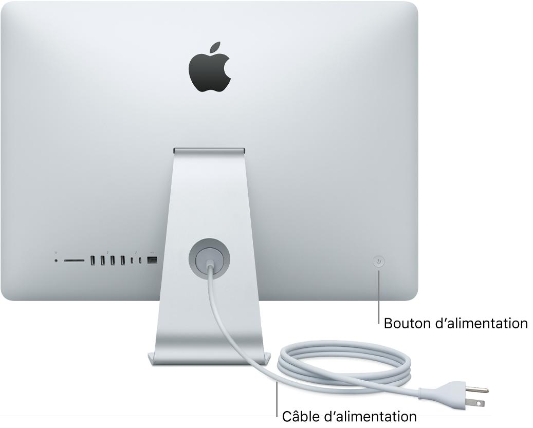 Vue arrière de l'iMac, présentant le câble d'alimentation CA et le bouton d'alimentation.