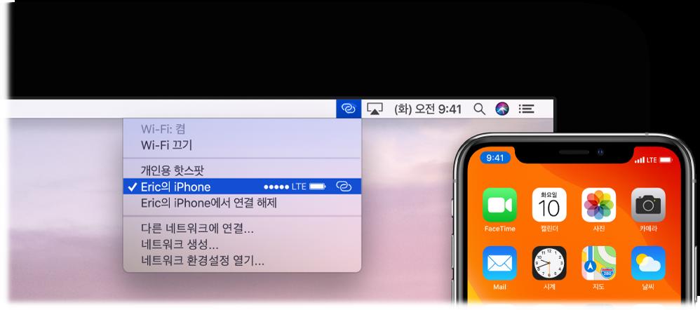 iPhone에 연결된 개인용 핫스팟을 표시하는 Wi-Fi 메뉴가 있는 Mac 화면.