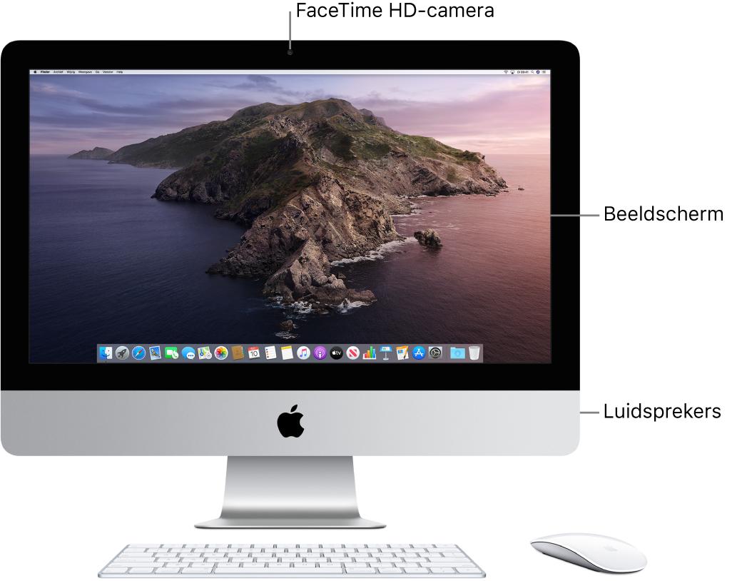 Vooraanzicht van een iMac met het beeldscherm, de camera en luidsprekers.
