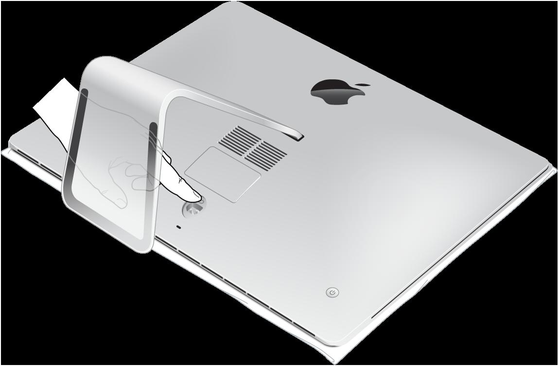 Een platliggende iMac met het scherm naar onderen en een vinger die op de knop voor de klep van het geheugenvak drukt.