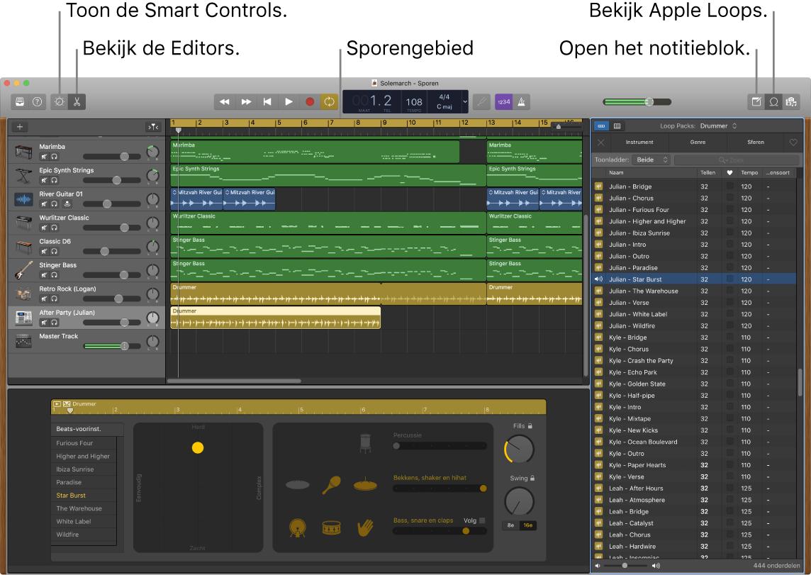 Een GarageBand-venster met daarin de knoppen voor toegang tot slimme besturingselementen, editors, notities en AppleLoops. Ook het gebied met tracks wordt weergegeven.