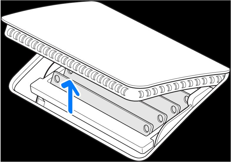 Geopende klep van het geheugenvak, nadat de knop voor de klep is ingedrukt.