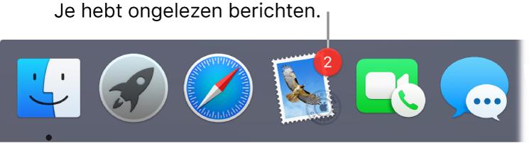 Een gedeelte van het Dock met daarin het appsymbool van Mail, met een badge die het aantal ongelezen berichten aangeeft.