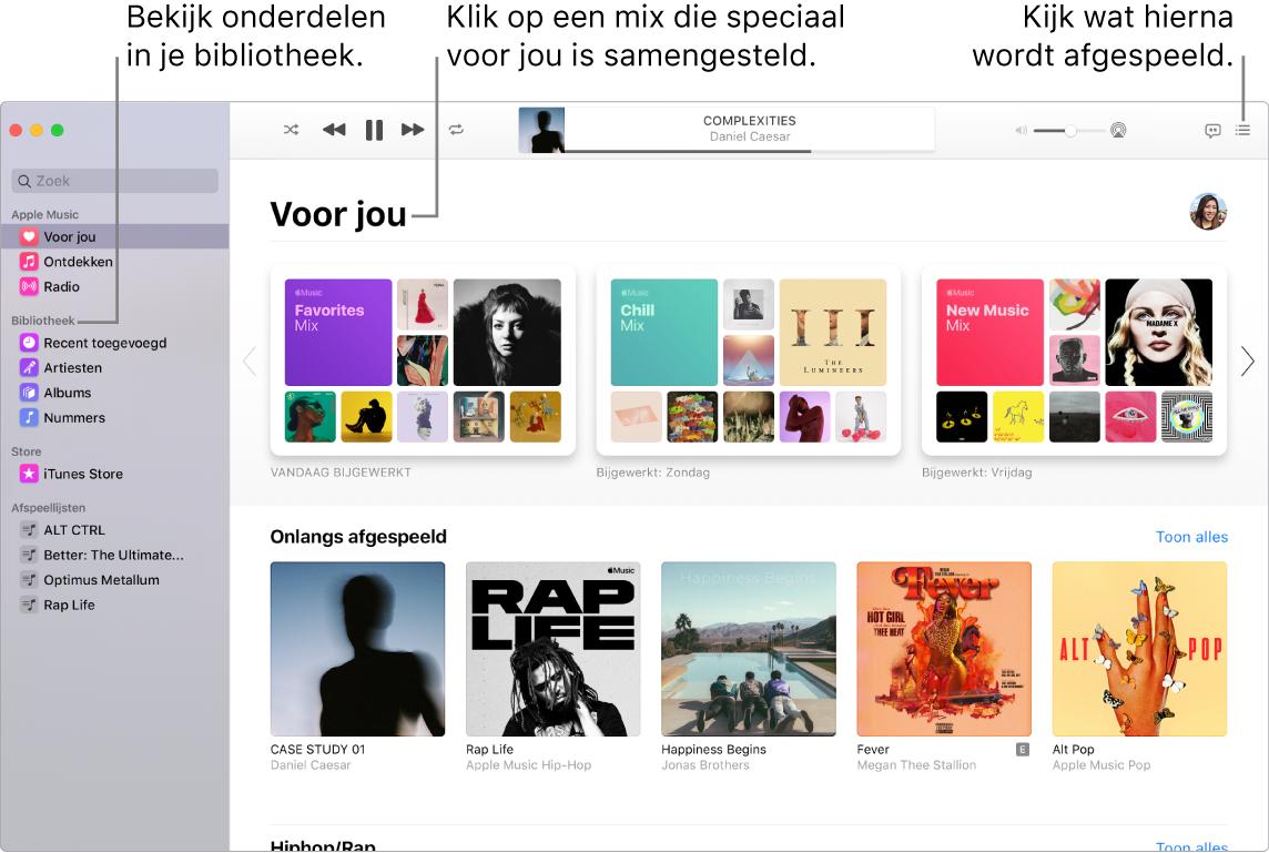 Een venster van de Muziek-app waarin wordt aangegeven hoe je je bibliotheek bekijkt, naar AppleMusic luistert en ziet wat er als volgende wordt afgespeeld.